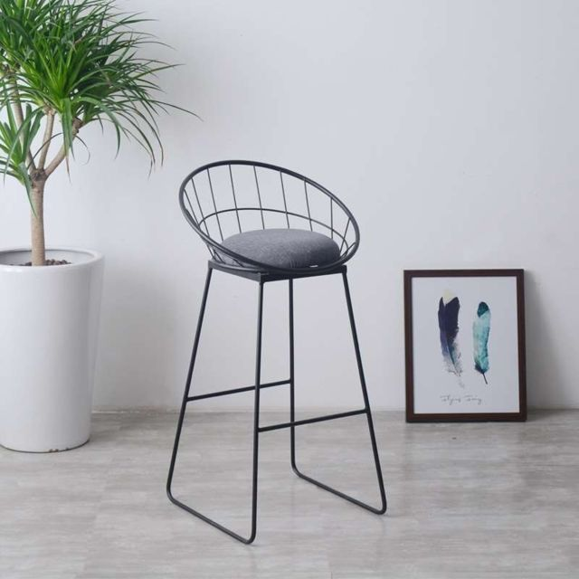 Wewoo - Tabouret haut simple Creative Casual nordic ring café bBar Table et chaisetaille hauteur 45cm noir mat - Chaises