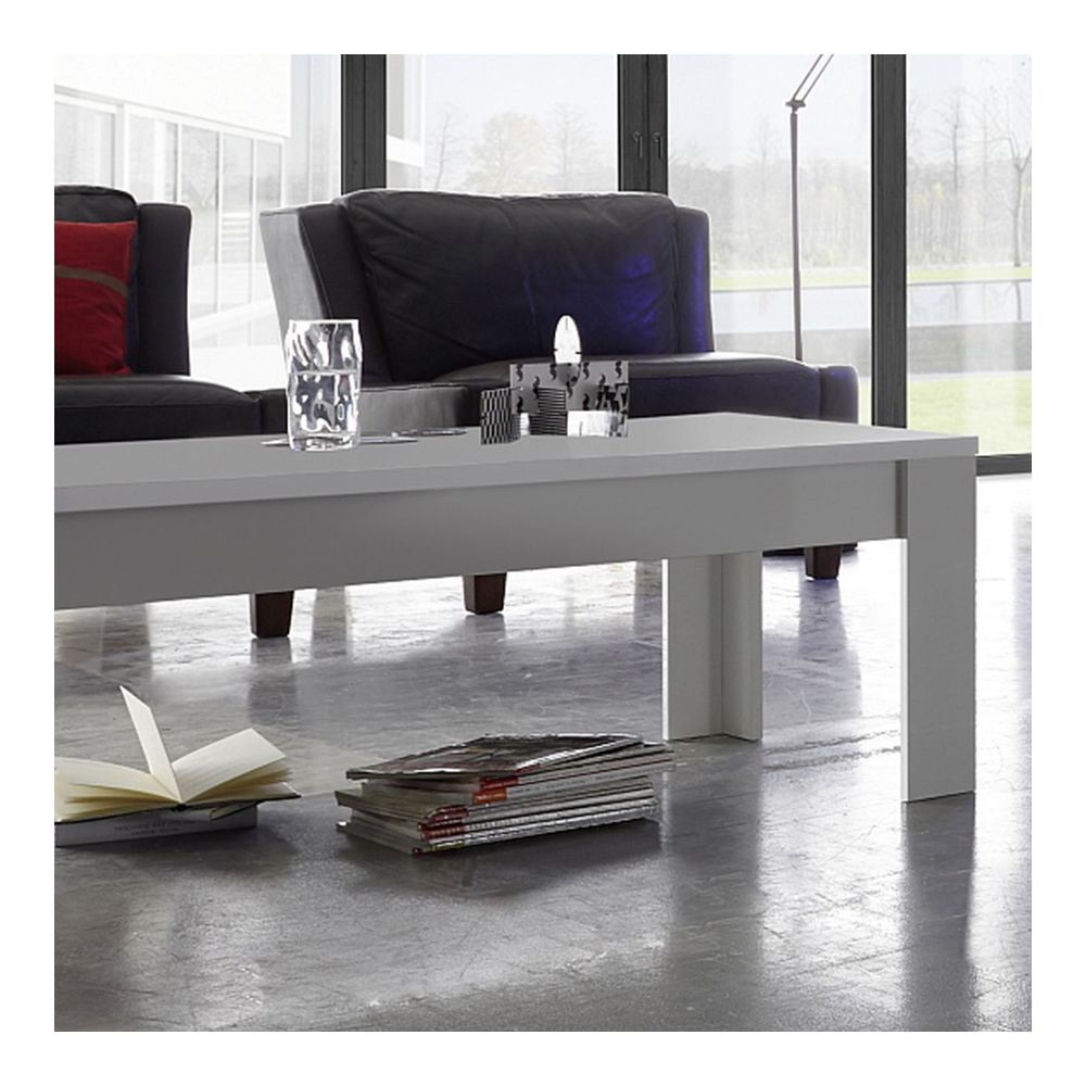 Sofamobili Table basse design blanc laqué mat NEVADA