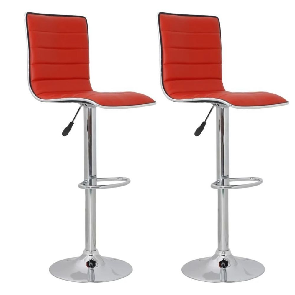 Helloshop26 Lot de deux tabourets de bar design chaise siège rouge 1202175