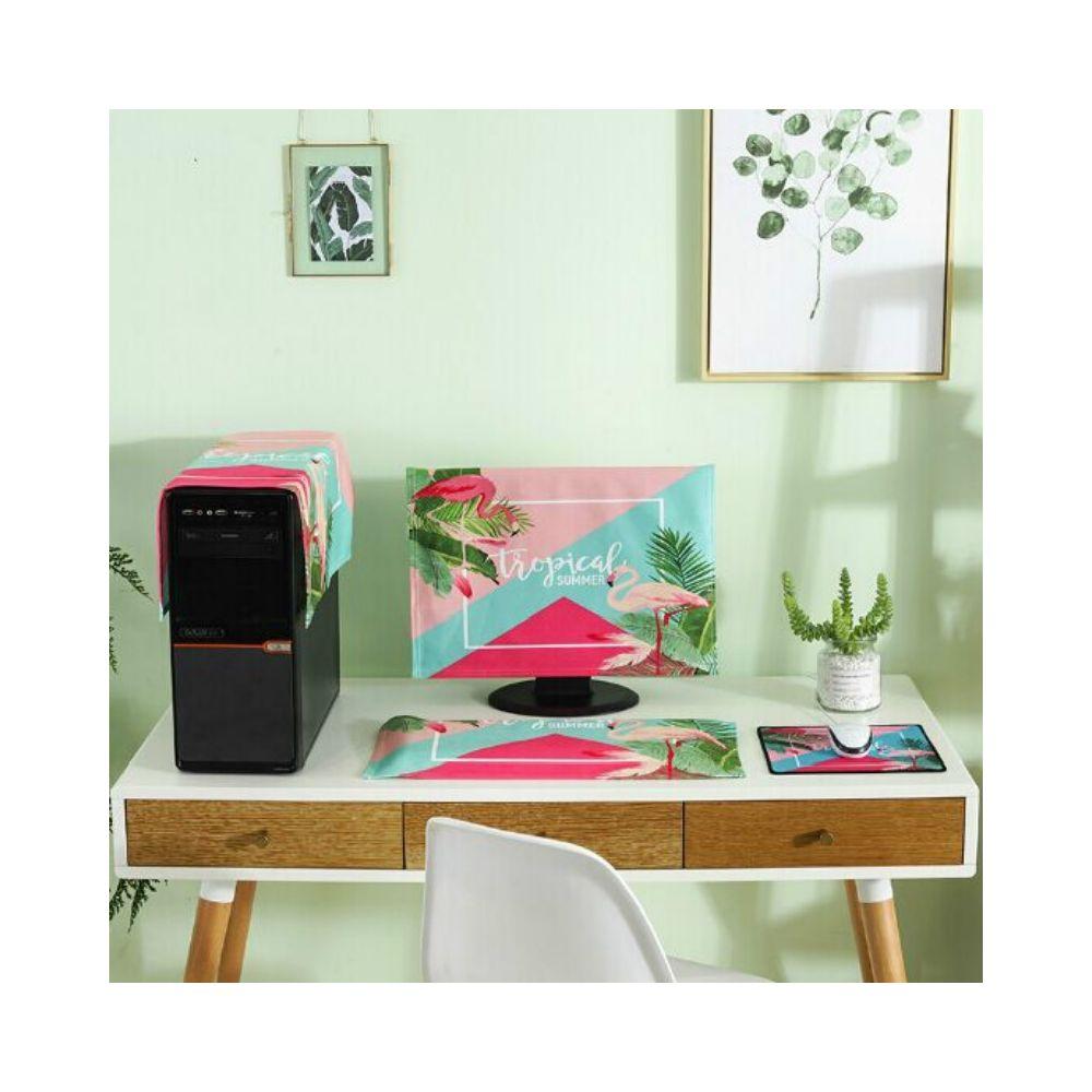 Wewoo Housse de protection 3 en 1 pour ordinateur de bureau simpletaille 20 à 22 pouces fascinant flamant rose