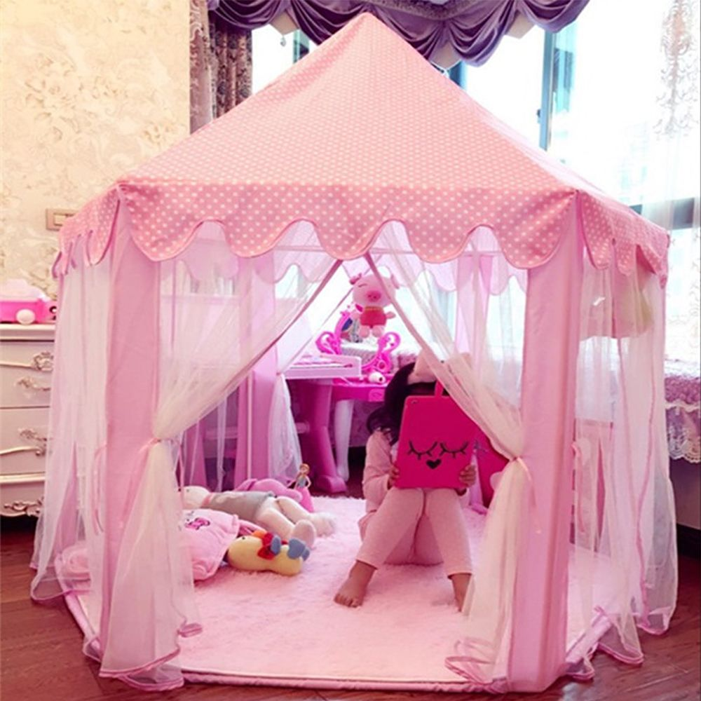 Jeobest Tente pliable portative de Jeu pour Enfants Princesse Pop Up Chateau Filles Jouet Tente (Rose) Pour Maison Plage, etc