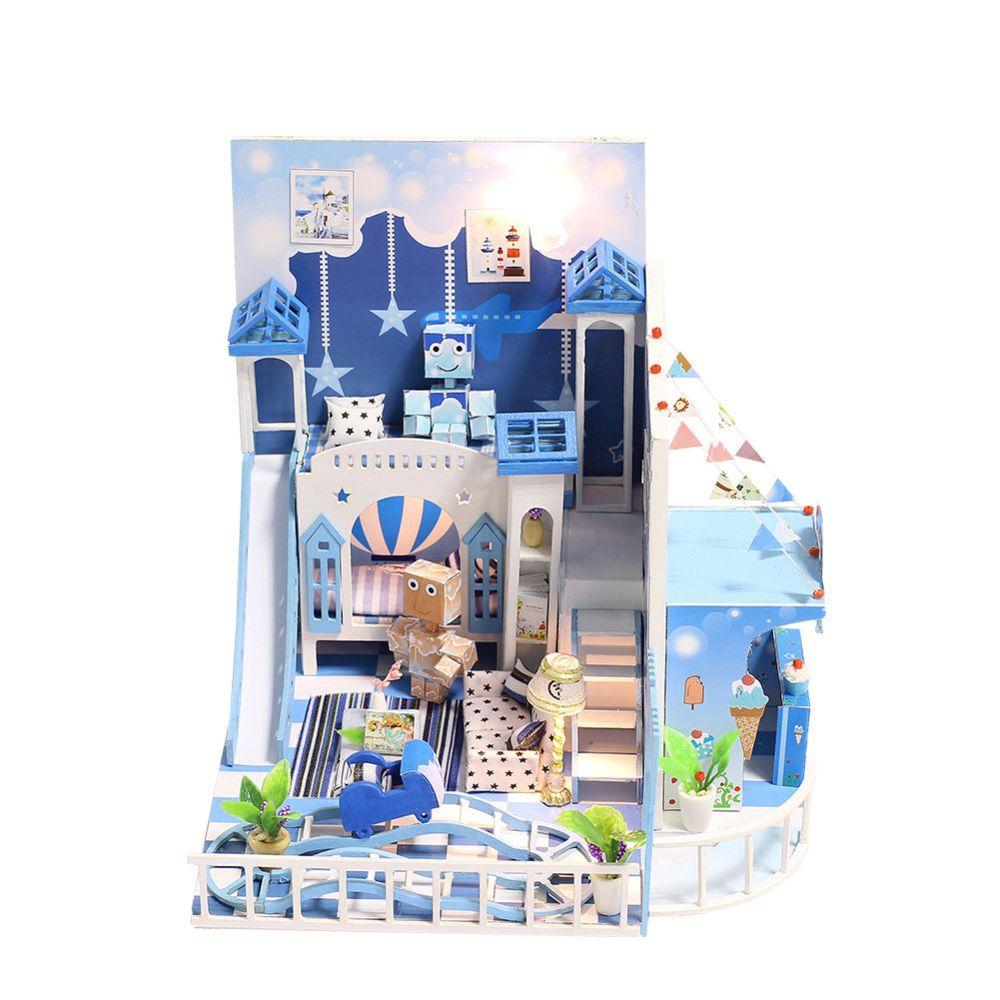 Iie Create Miniature bricolage maison de poupée Kit Joie enfance avec lumière et boîte musique