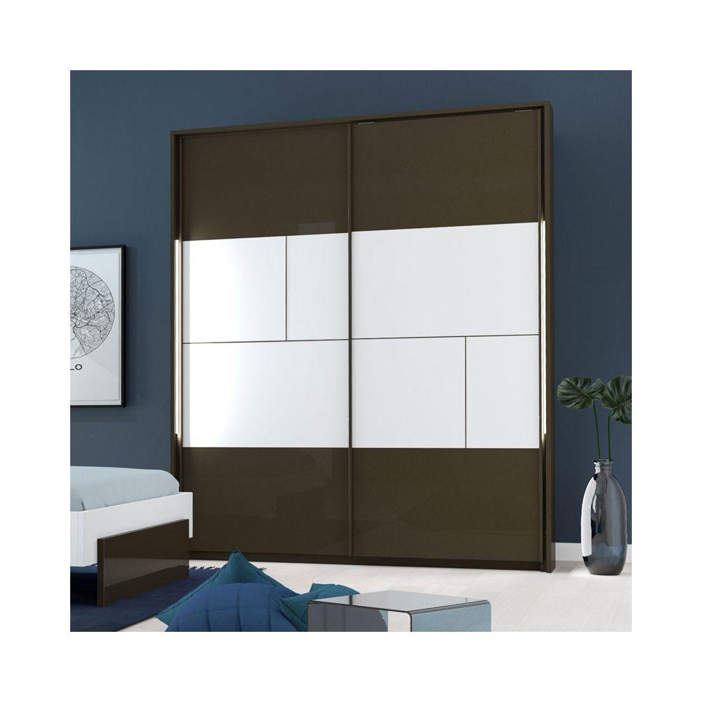Tousmesmeubles Armoire 2 portes coulissantes à LEDs Gris anthracite/Blanc - FLORINE