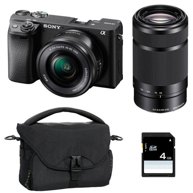 Sony - PACK SONY ALPHA 6400 NOIR + 16-50 + 55-210 + FT + SD - Pack appareil photo