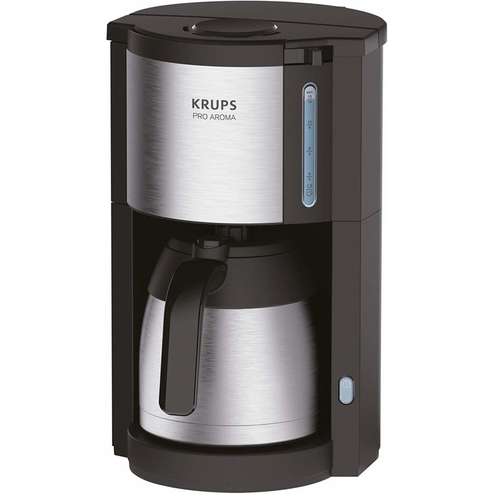 Krups cafetière électrique de 1,25L pour 10 a 15 tasses avec verseuse isotherme gris noir