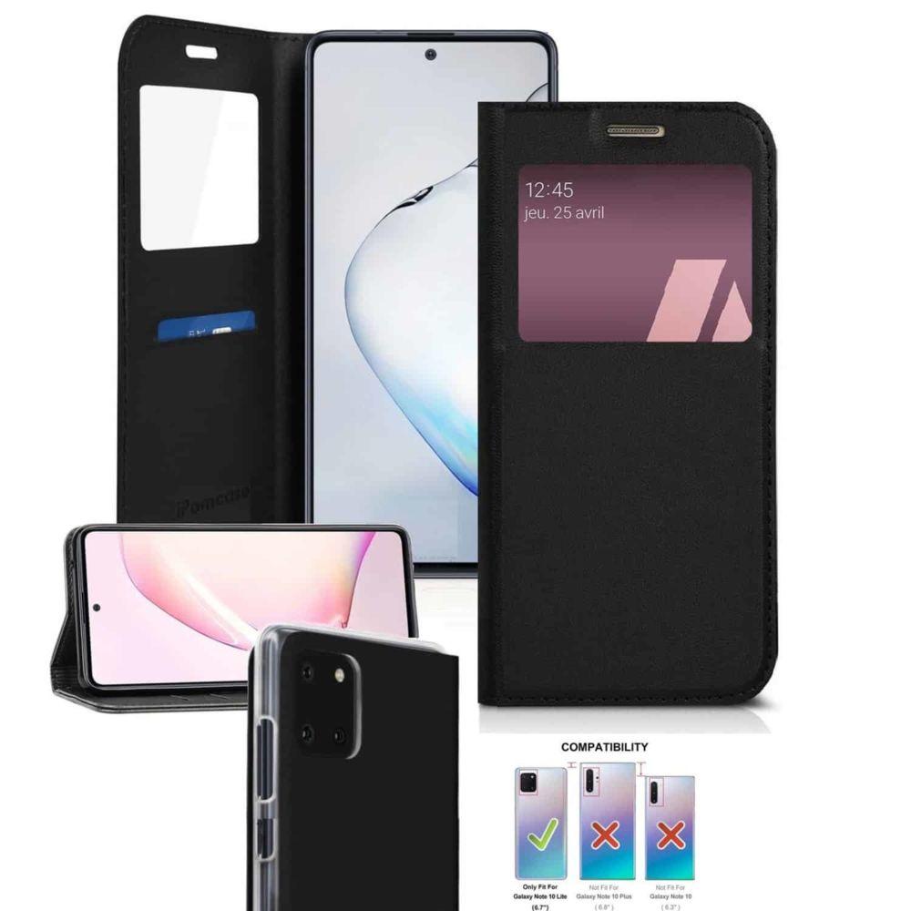 Ipomcase - Coque Etui Housse de protection porte carte pour Samsung Galaxy Note 10 Lite -Noir