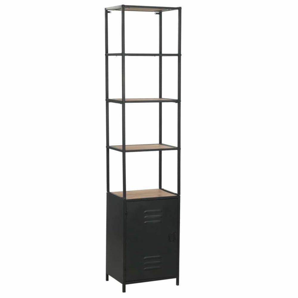 Helloshop26 Étagère armoire meuble design bibliothèque bois de sapin massif et acier 180 cm 2702053/2