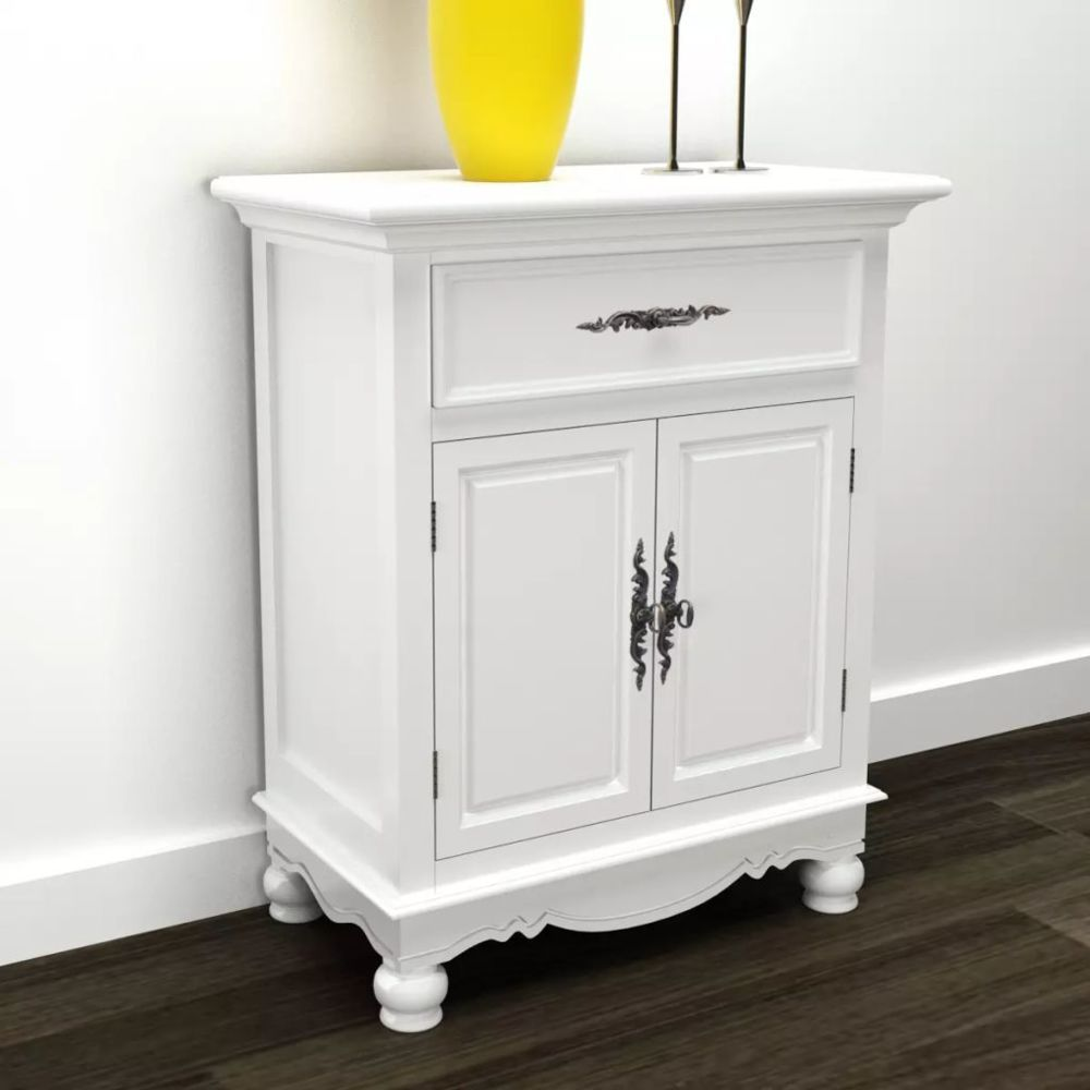 Vidaxl Armoire avec 2 portes et 1 tiroir Bois Blanc | Blanc
