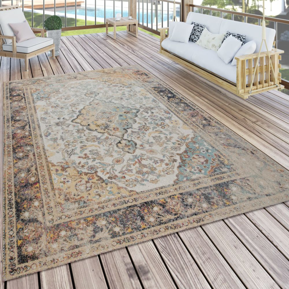 Paco-Home Tapis Intérieur Extérieur, Pour Balcon Et Terrasse, Avec Design Oriental, Coloré