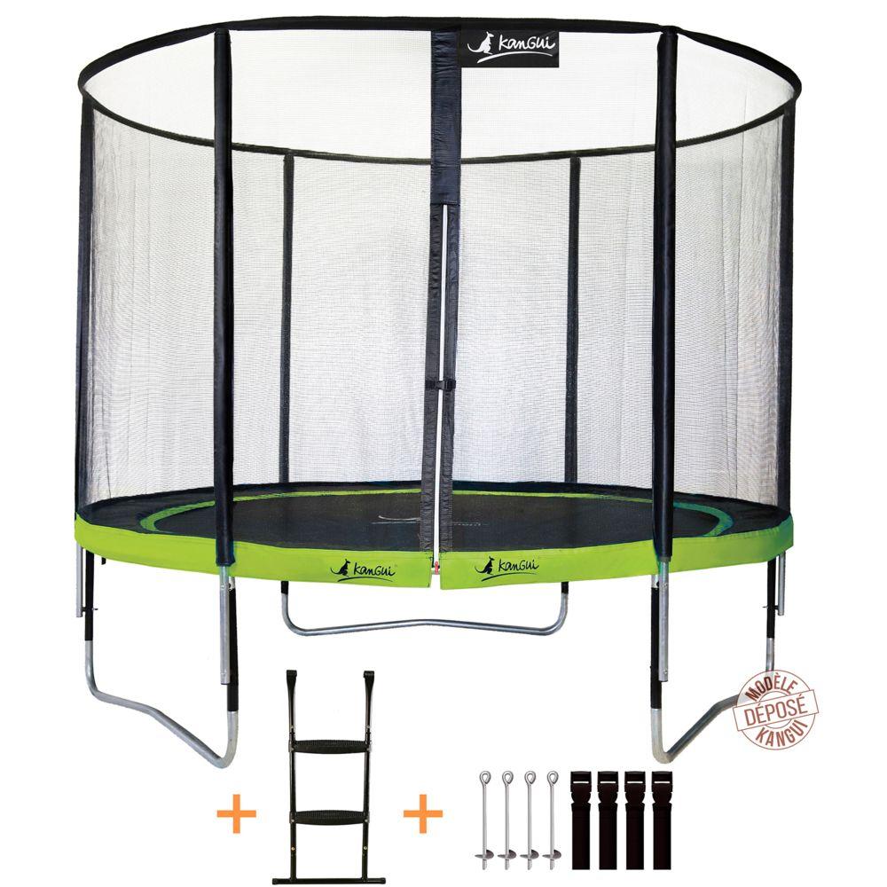 Kangui Kangui - Trampoline de jardin rond 305 cm + filet de sécurité + échelle + kit d'ancrage PUNCHI Vert 300