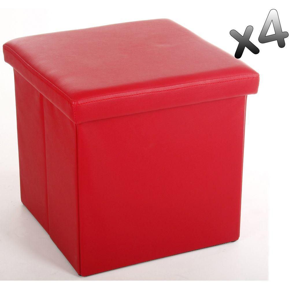Pegane Lot de 4 poufs carrés Lilo en Polyuréthane coloris rouge, Dim : Hauteur 37.5 x Profondeur 38 x Largeur 38 cm
