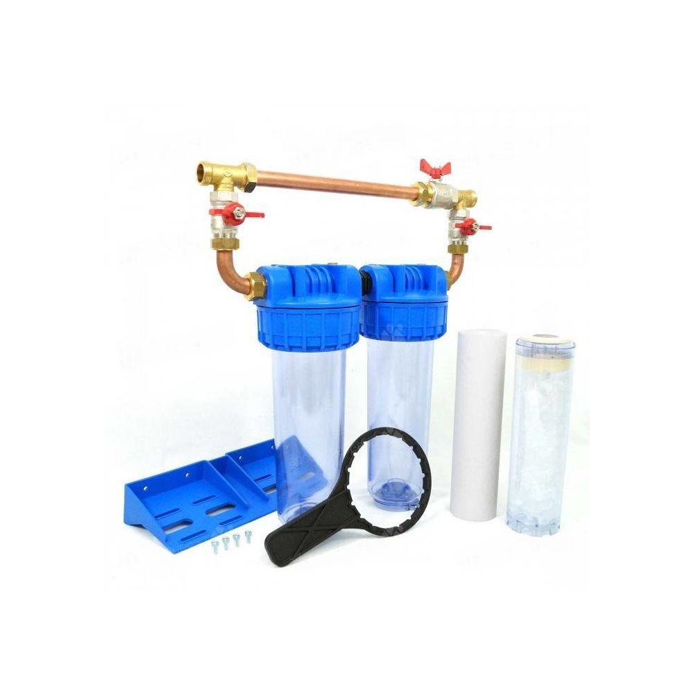 Toodo Double porte filtre à eau 93/4 - 20/27F avec cartouche 20µm + Polyphosphate + by-pass