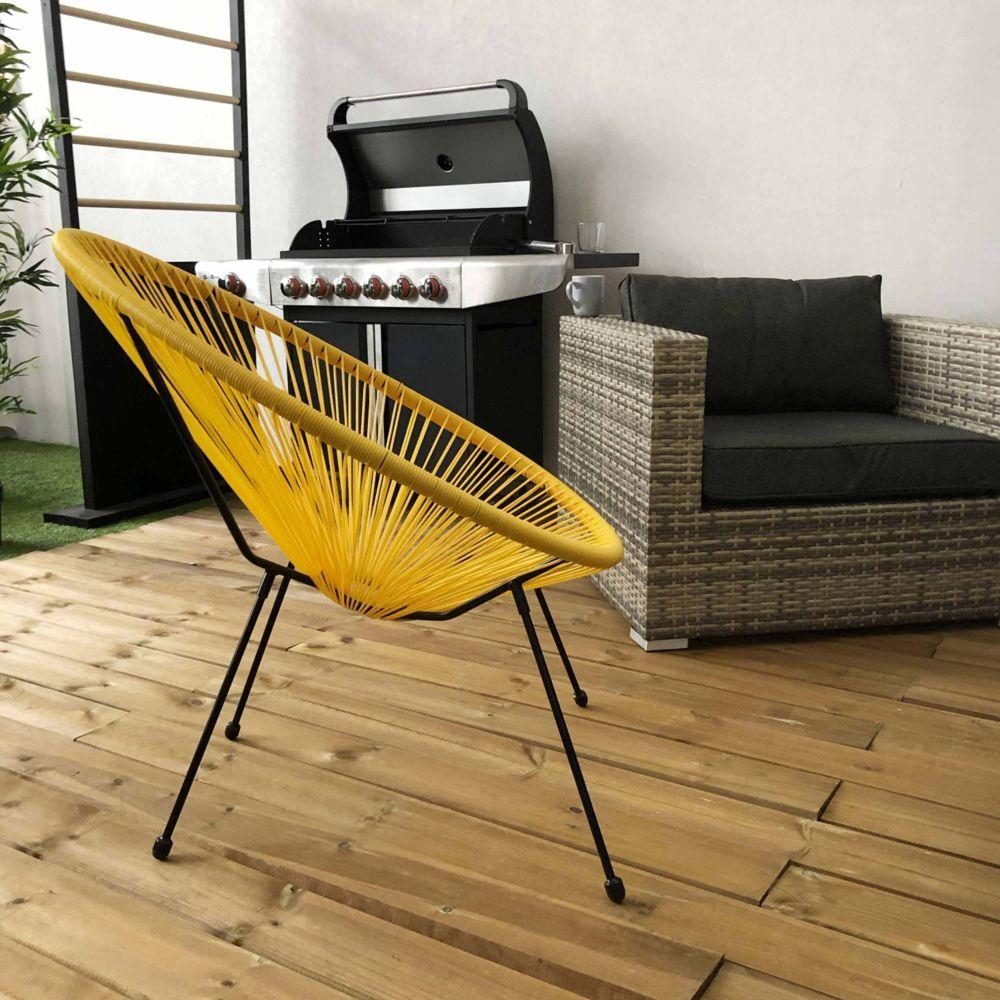 Alice'S Garden Fauteuil ACAPULCO forme d'oeuf - Jaune - Fauteuil 4 pieds design rétro, cordage plastique, intérieur / extérieur