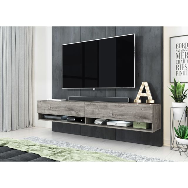 Furnix - Meuble tv moderne / Banc TV Alex 180 Gris Ribbeck sans LED - Mobilier