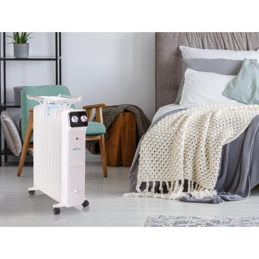 Purline radiateur à huile 11 éléments avec code à linge et récipient d'humidification 2500W blanc