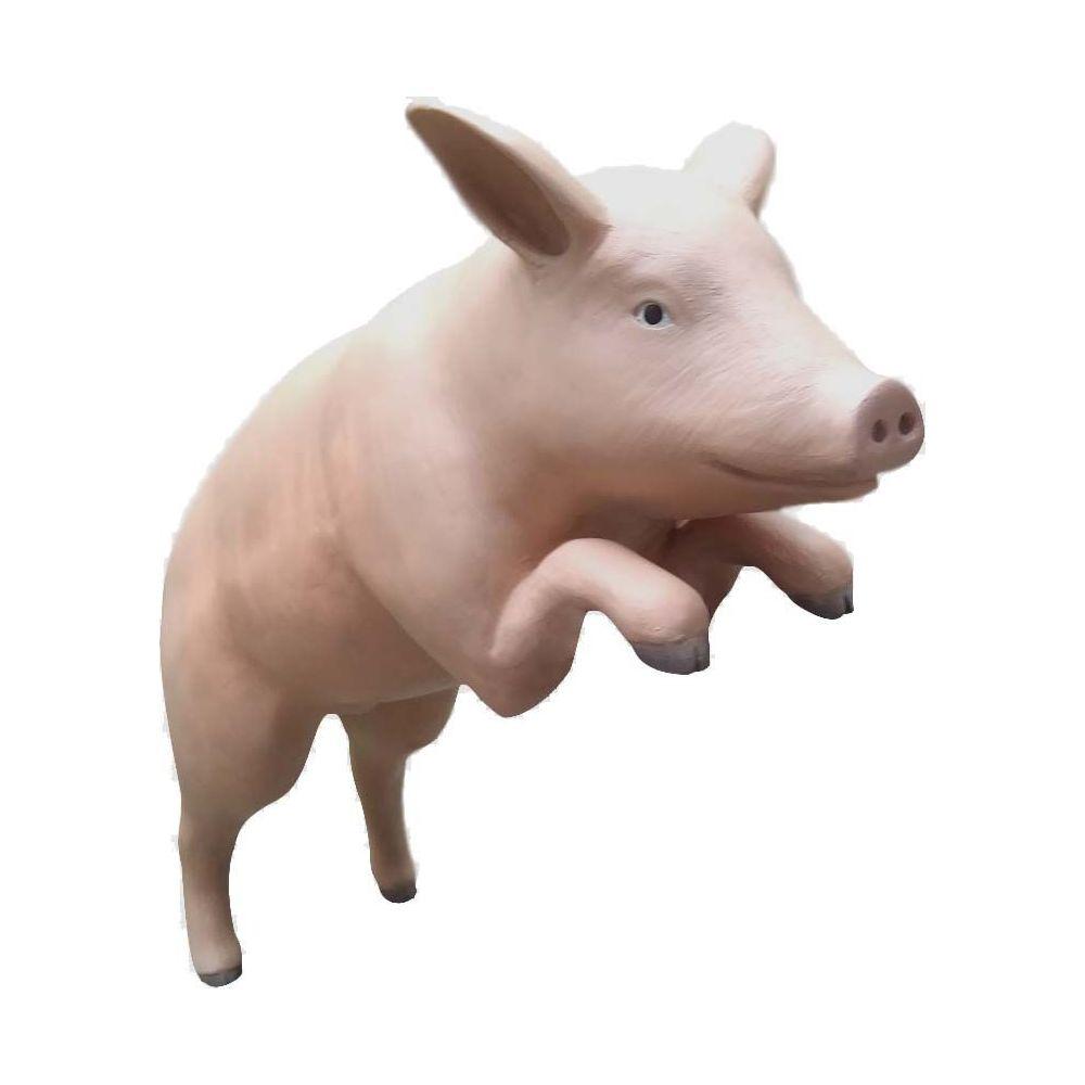 Texartes Cochon rose debout en résine 133 cm