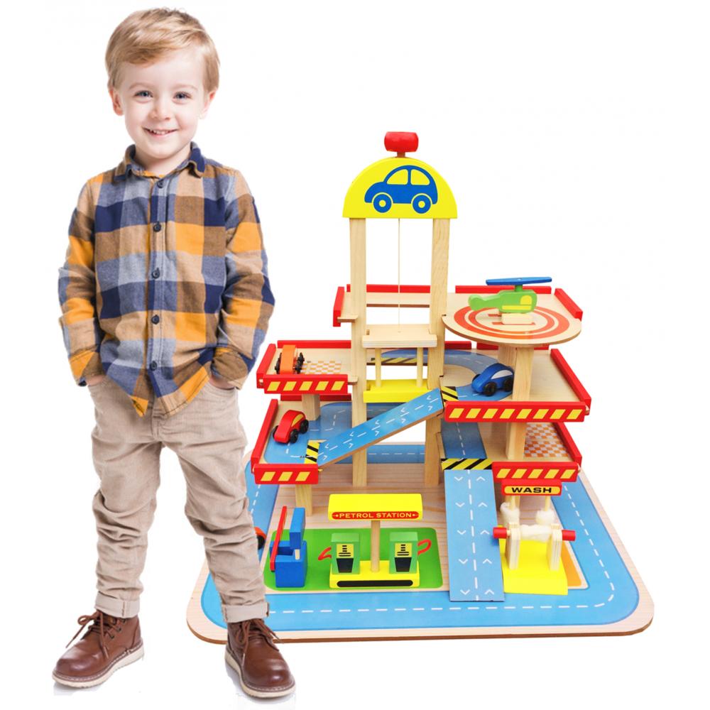 Dodo Toys Grand Jouet En Bois Garage / Parking 3 Niveaux Ascenseur & Piste d'Atterrissage, Accessoires: 4 Voitures & un Hélicoptèr