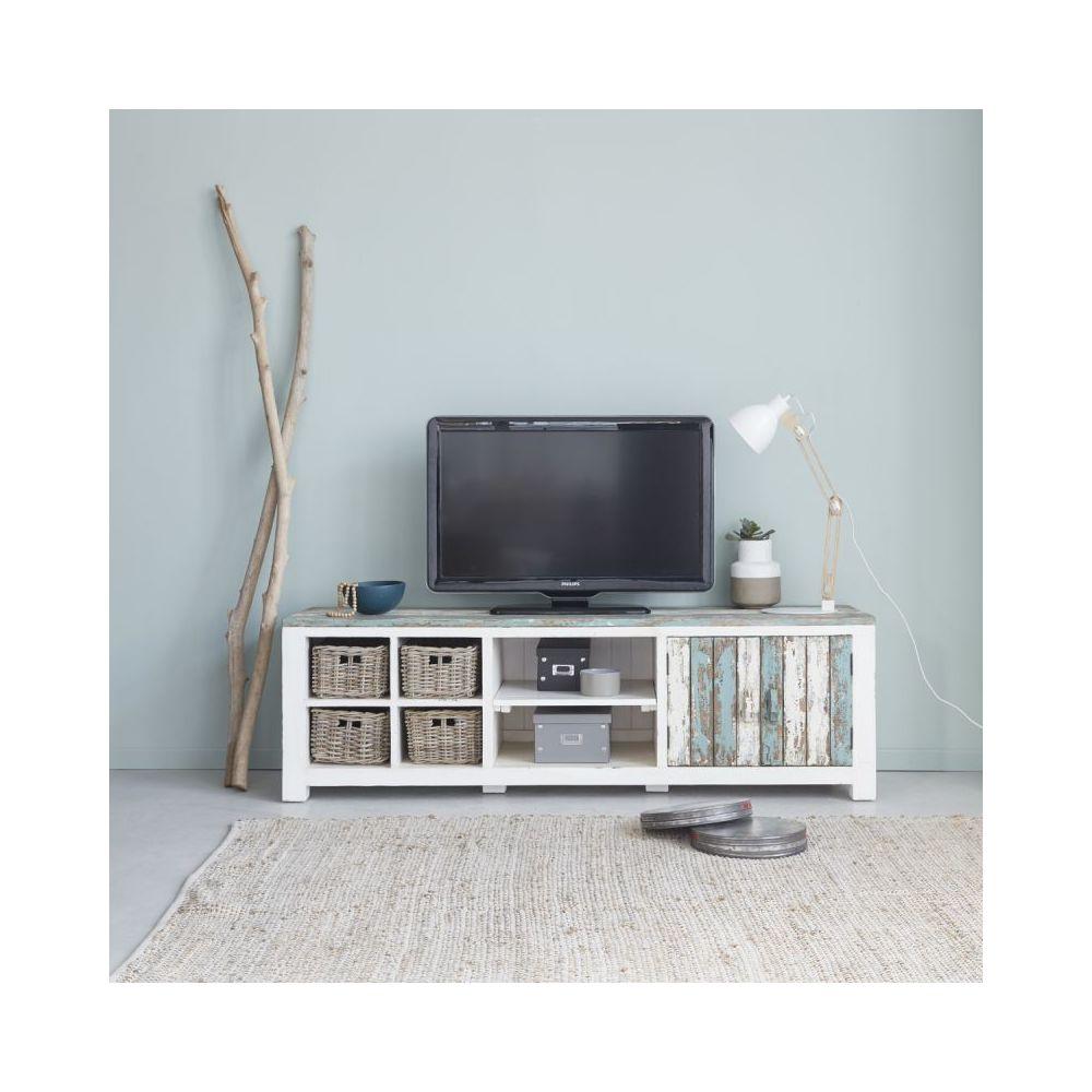 Bois Dessus Bois Dessous Meuble TV en bois de pin recyclé 4 tiroirs