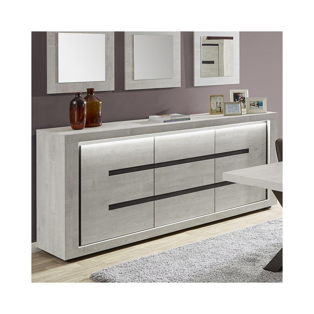 Nouvomeuble Bahut contemporain couleur bois gris LUCAS
