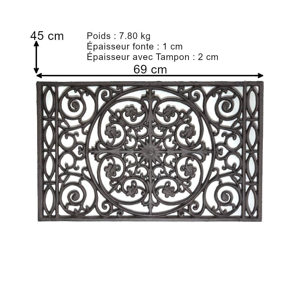 L'Originale Deco Tapis Fonte Paillasson Fonte Gratte Pied Fonte de Jardin d'Entrée 69 cm x 45 cm et 7.80 kg