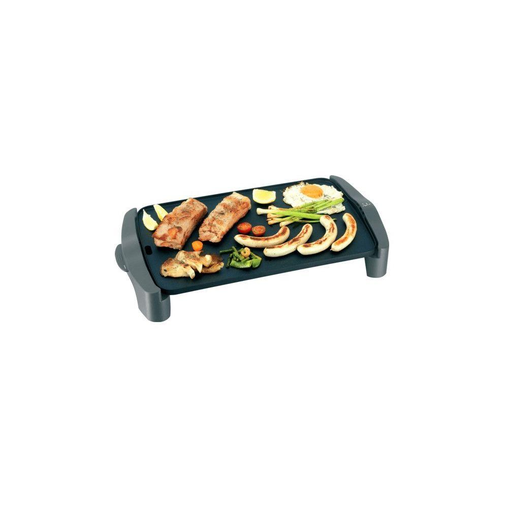 Totalcadeau Grill plancha avec thermostat à température réglable 2500W - Plaque de cuisson et grill 2 en 1, anti-adhésive