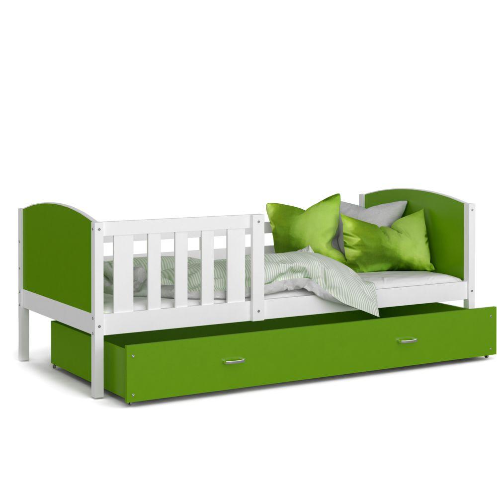 Kids Literie Lit enfant Tomy 90x190 blanc vert livré avec tiroir, sommier et matelas en mousse de 7cm offert
