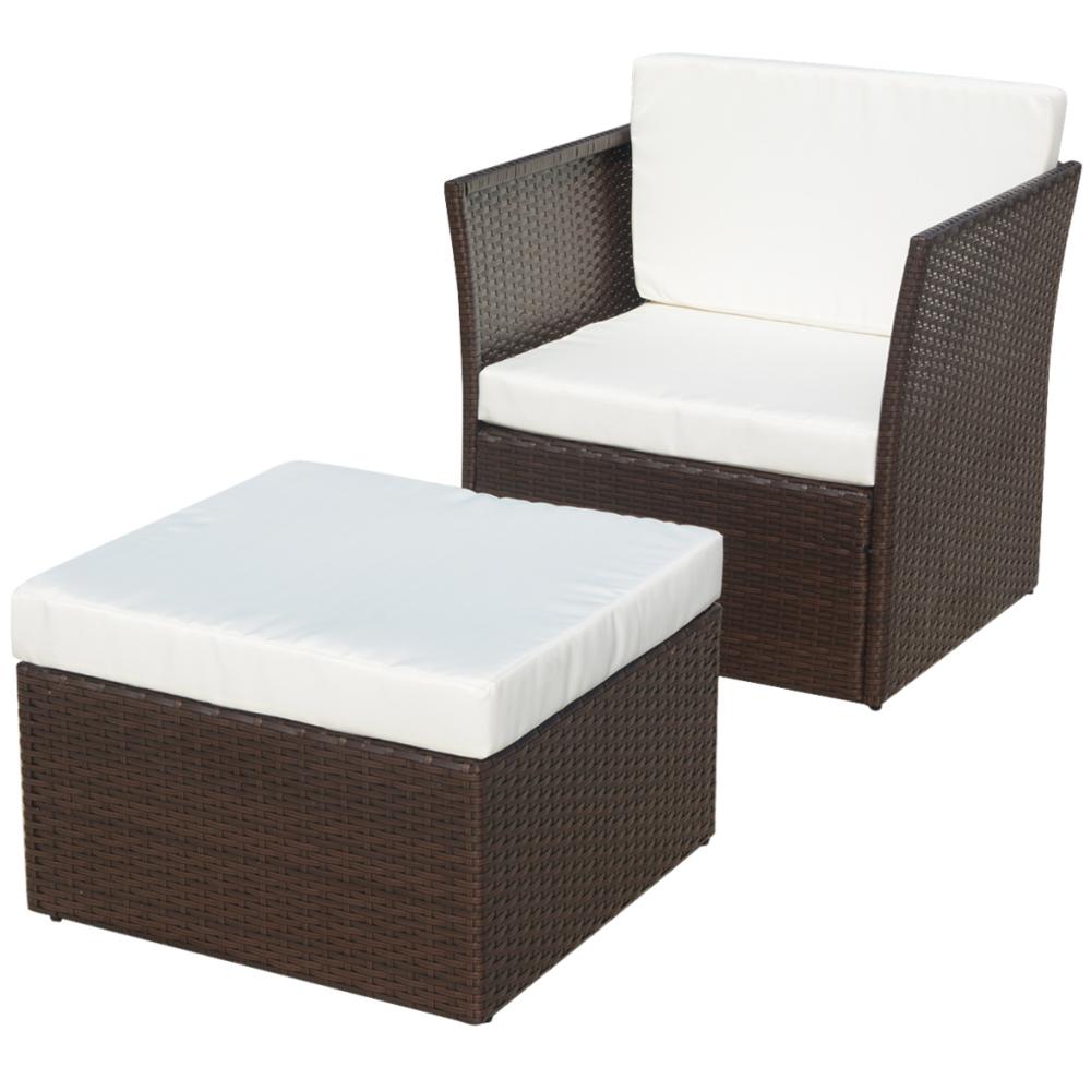 Vidaxl vidaXL Ensemble de cinq pièces chaises jardin Rotin poly Marron