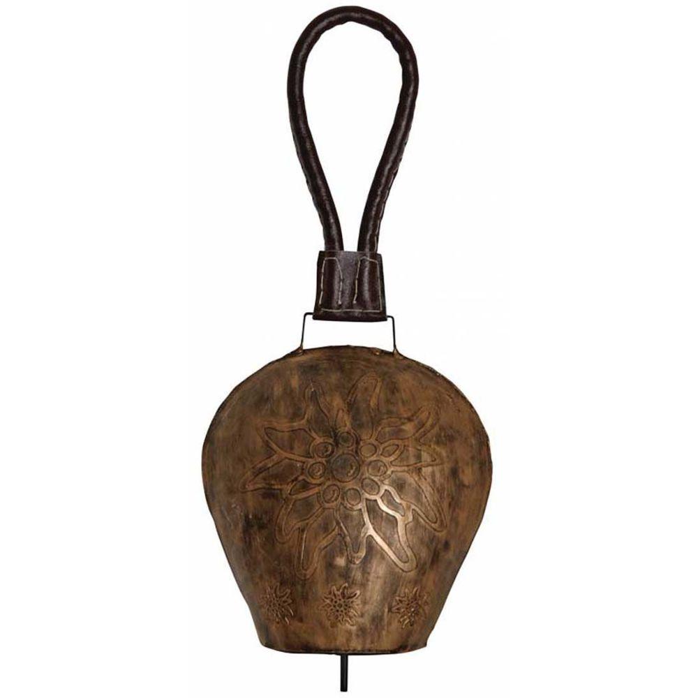 Aubry Gaspard Cloche Edelweiss en métal cuivré 20 cm