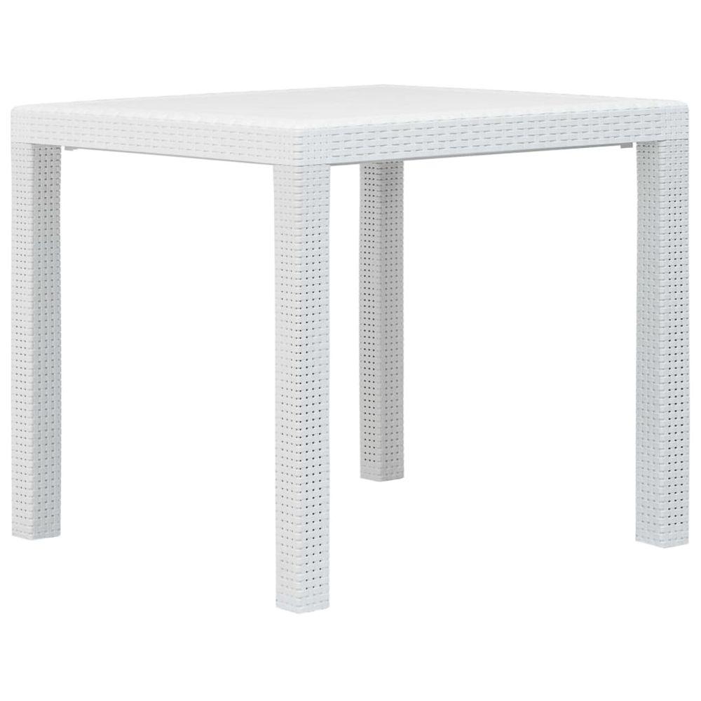 Vidaxl vidaXL Table de jardin Blanc 79x79x72 cm Plastique Aspect de rotin
