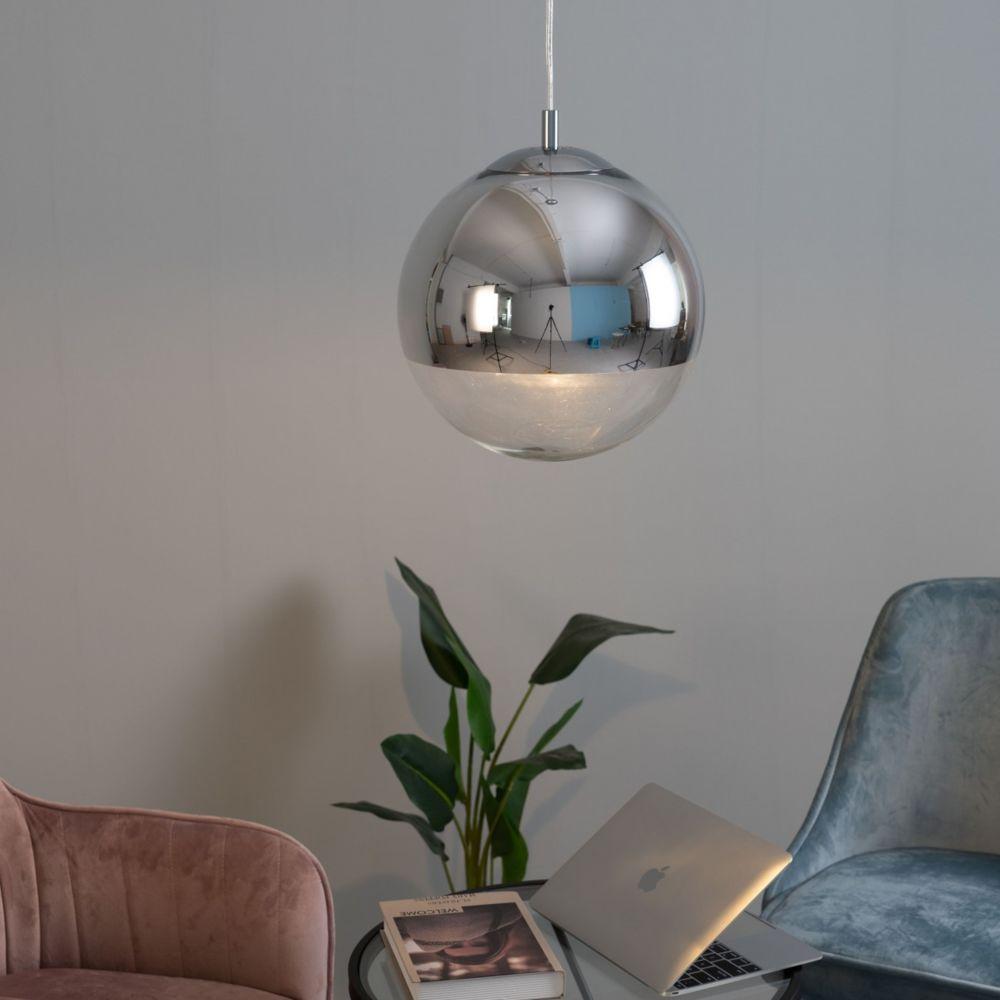 Kosilum Suspension boule verre transparent - Globe 30 cm