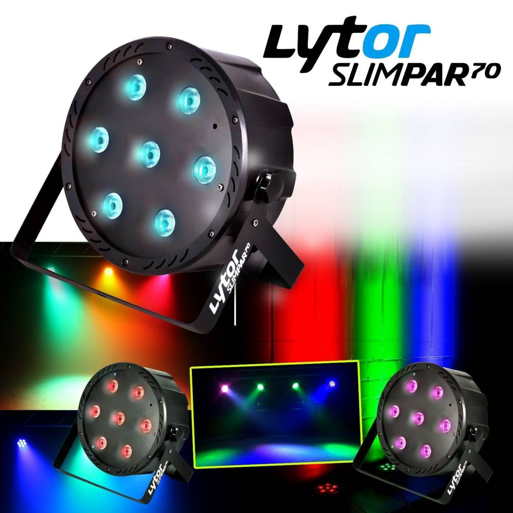 Lytor PACK 3 Projecteurs SLIMPAR70 ultra plat 7 LEDs (4en1) x 10W RVB/UV/DMX LytOr