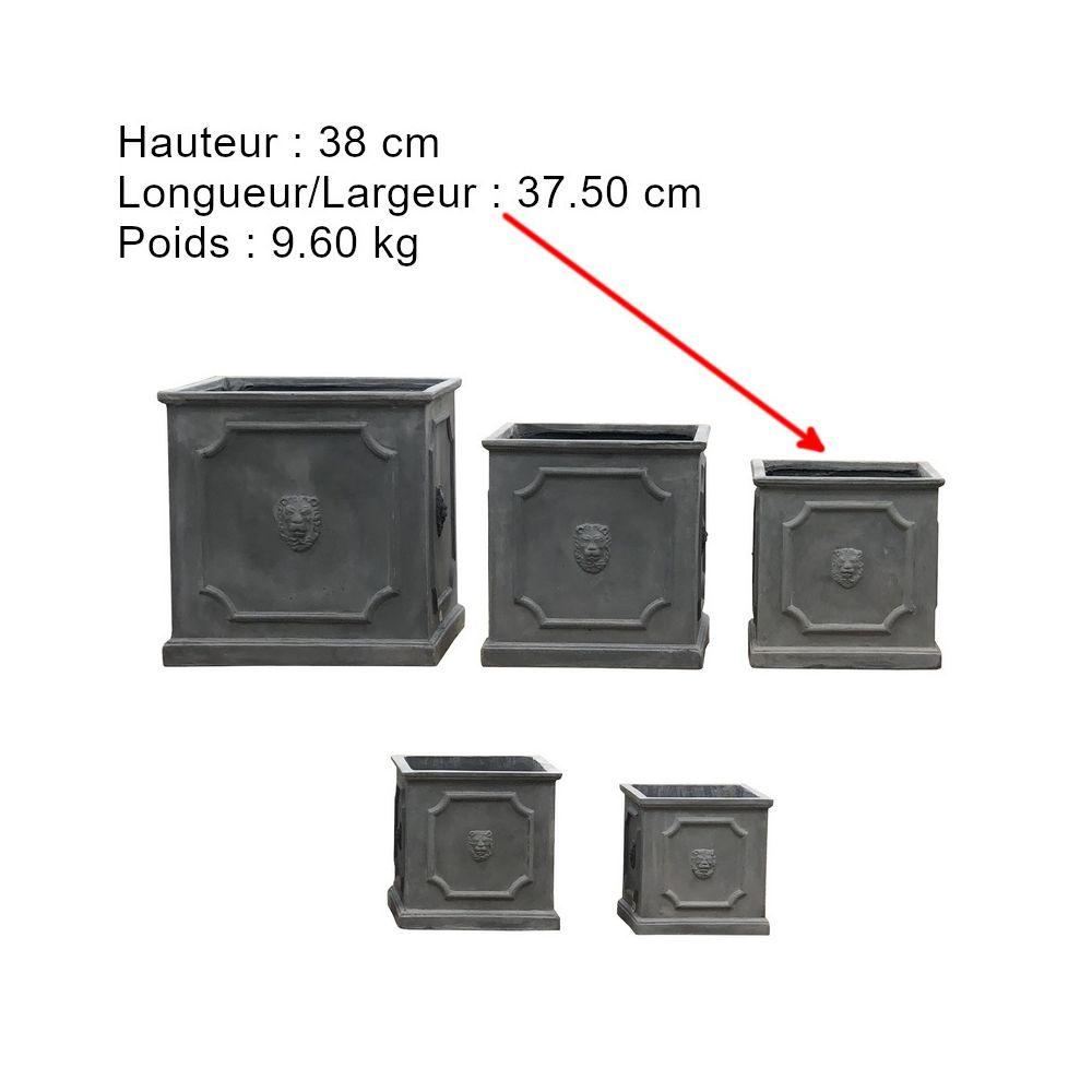 L'Originale Deco Grand Pot Cache Pot Bac Jardiniere Carré Fleurs Plantes Arbres Tête Lion 38 cm x 37.50 cm