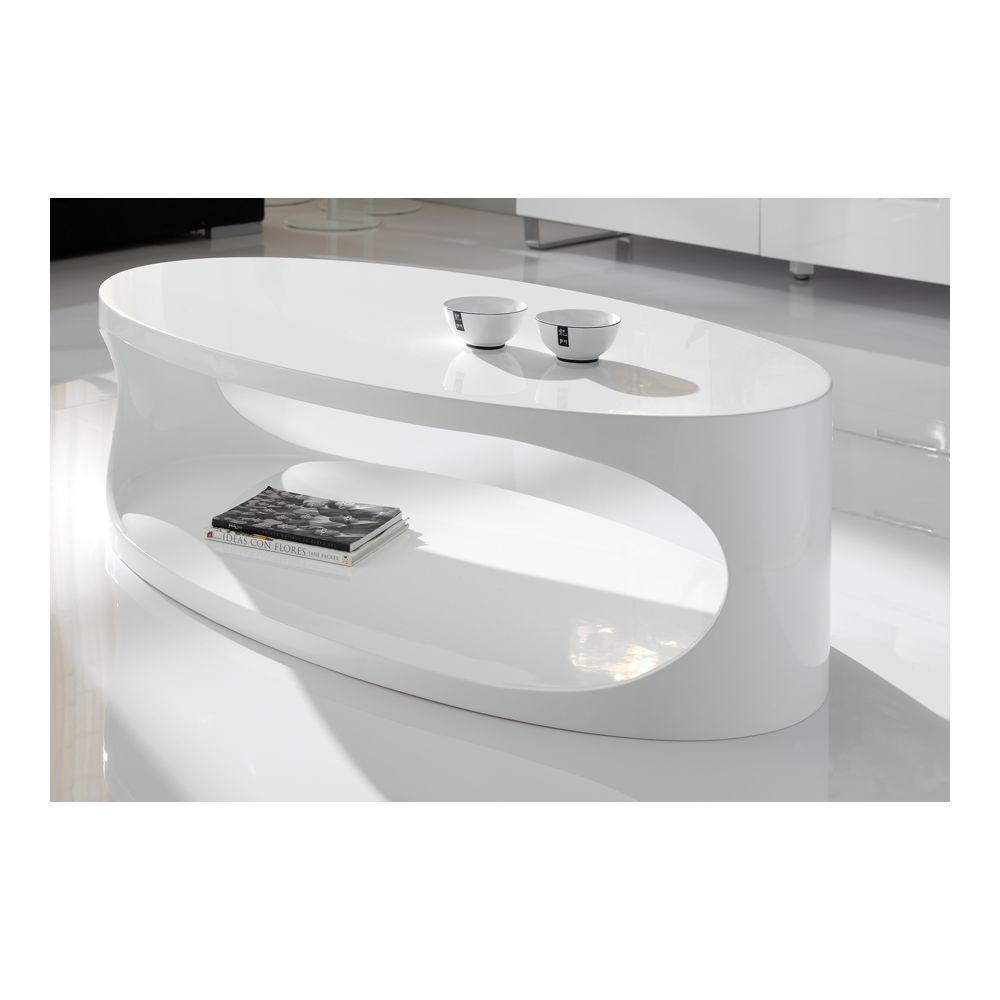 Sofamobili Table basse ovale blanc laqué design PORI