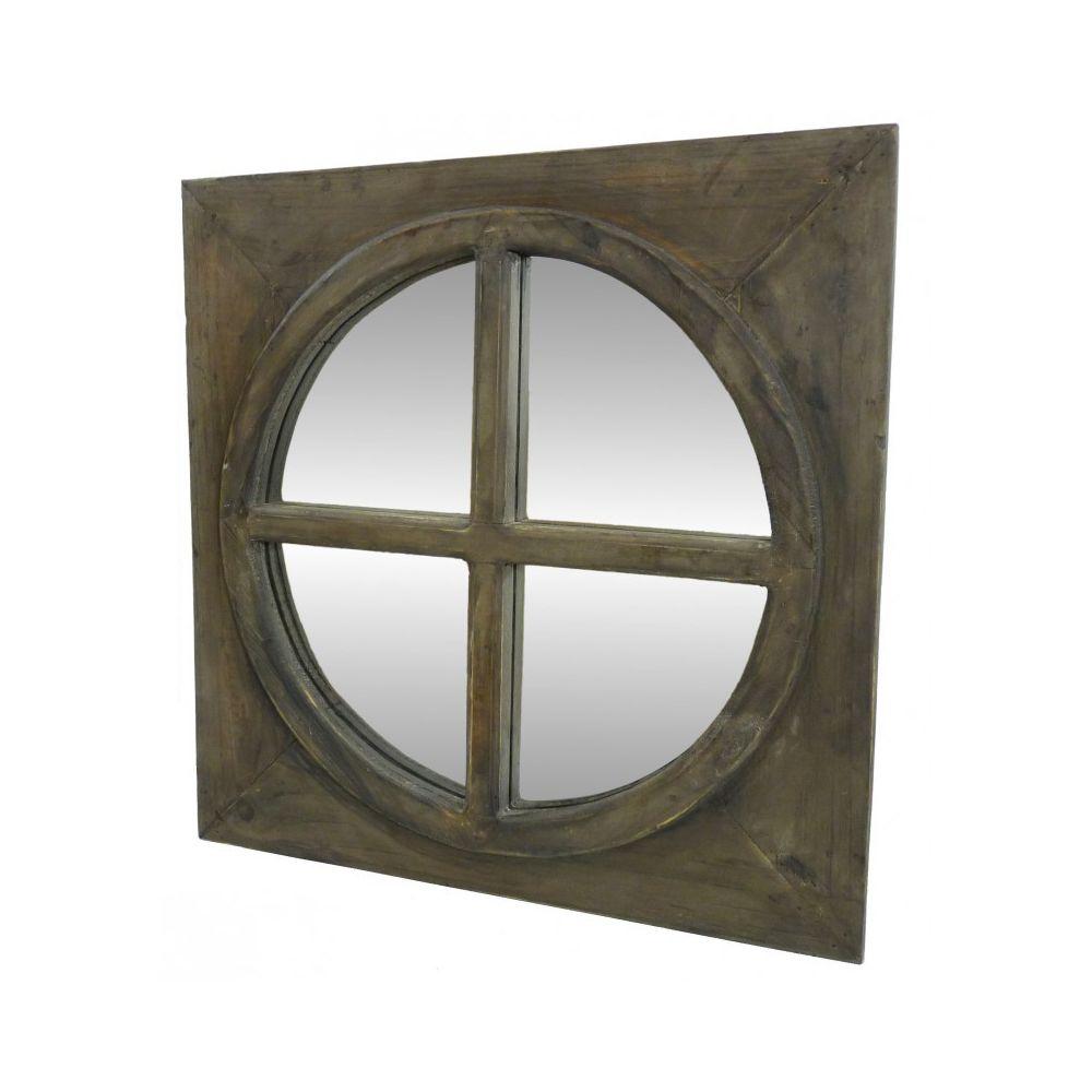 L'Héritier Du Temps Miroir Carré Glace Ronde en Bois Style Ancien Oeil de Boeuf avec Croix 3x50x50cm