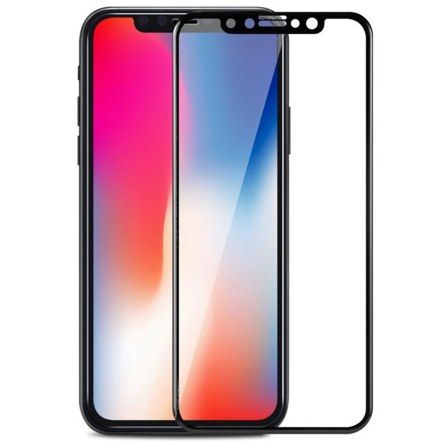 Protection écran smartphone Cabling CABLING® Verre Trempé iPhone X 5D Integralé Film Protection écran en Verre Trempe pour iPhone  X iphone 10  0.33mm Ultra HD Film Protecteur Vitre,Dureté 9H, 5,8 Pouces(noir)