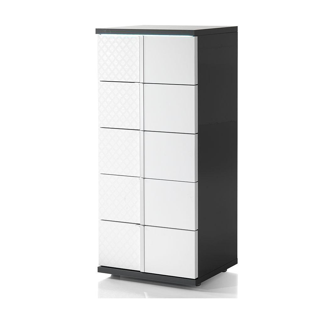 Nouvomeuble Chiffonnier design blanc et gris avec LED URSULA
