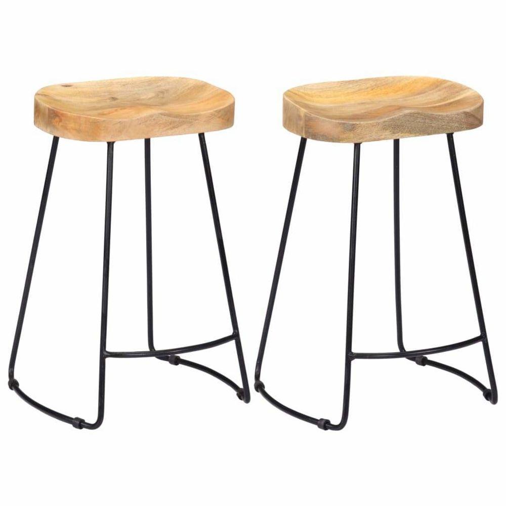 Helloshop26 Lot de deux tabourets de bar design chaise siège bois de manguier massif 1202102
