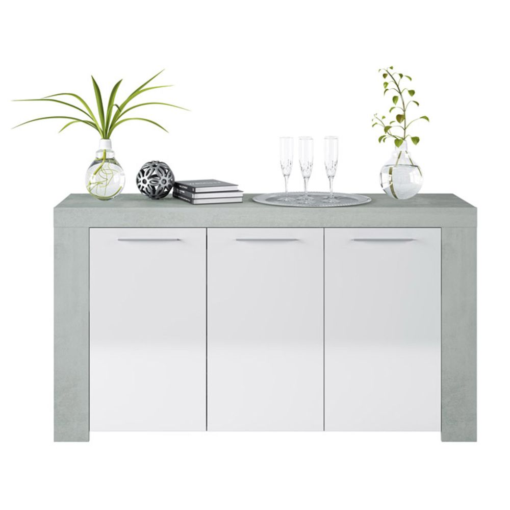 Pegane Buffet avec 3 portes coloris Blanc Artik / Ciment en mélamine - Dim: 80 x 144 x 42 cm -PEGANE-