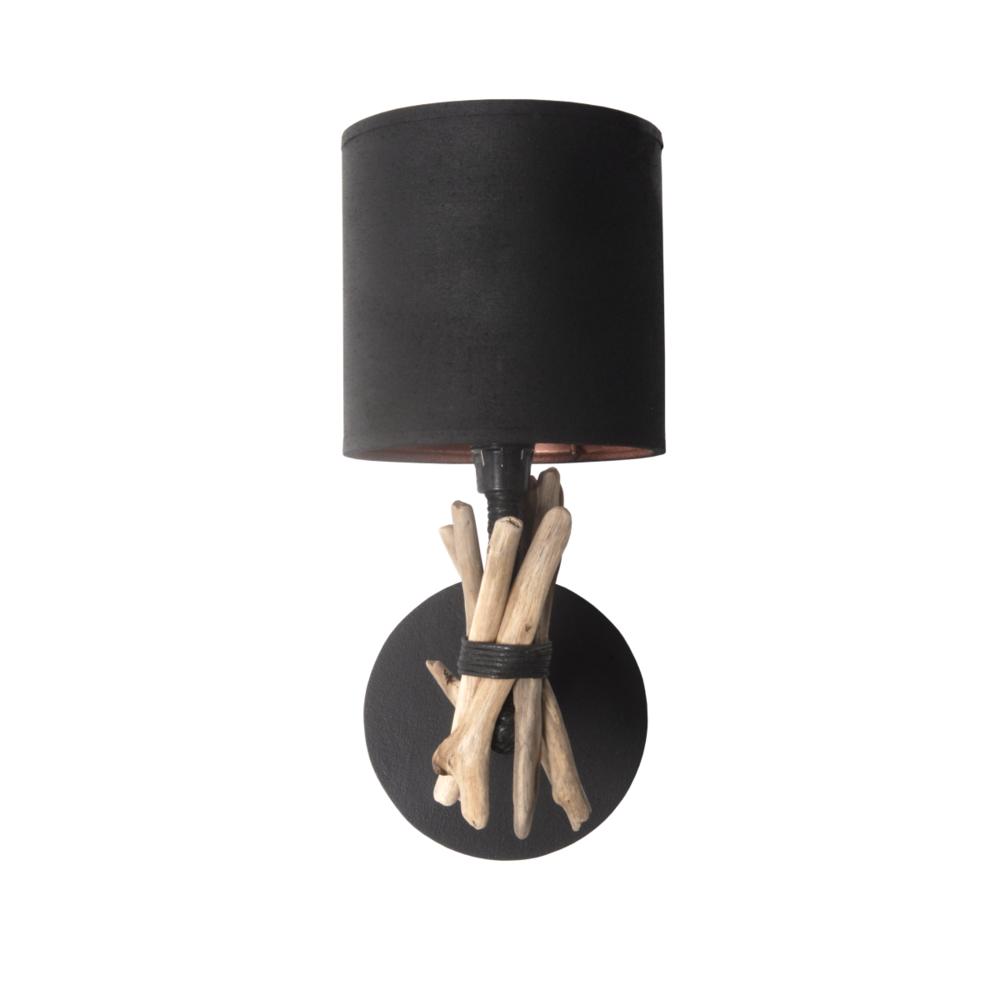 Bo Time Lampe applique murale artisanale en bois flotté naturel - Fabriquée à la main en France (Noir)