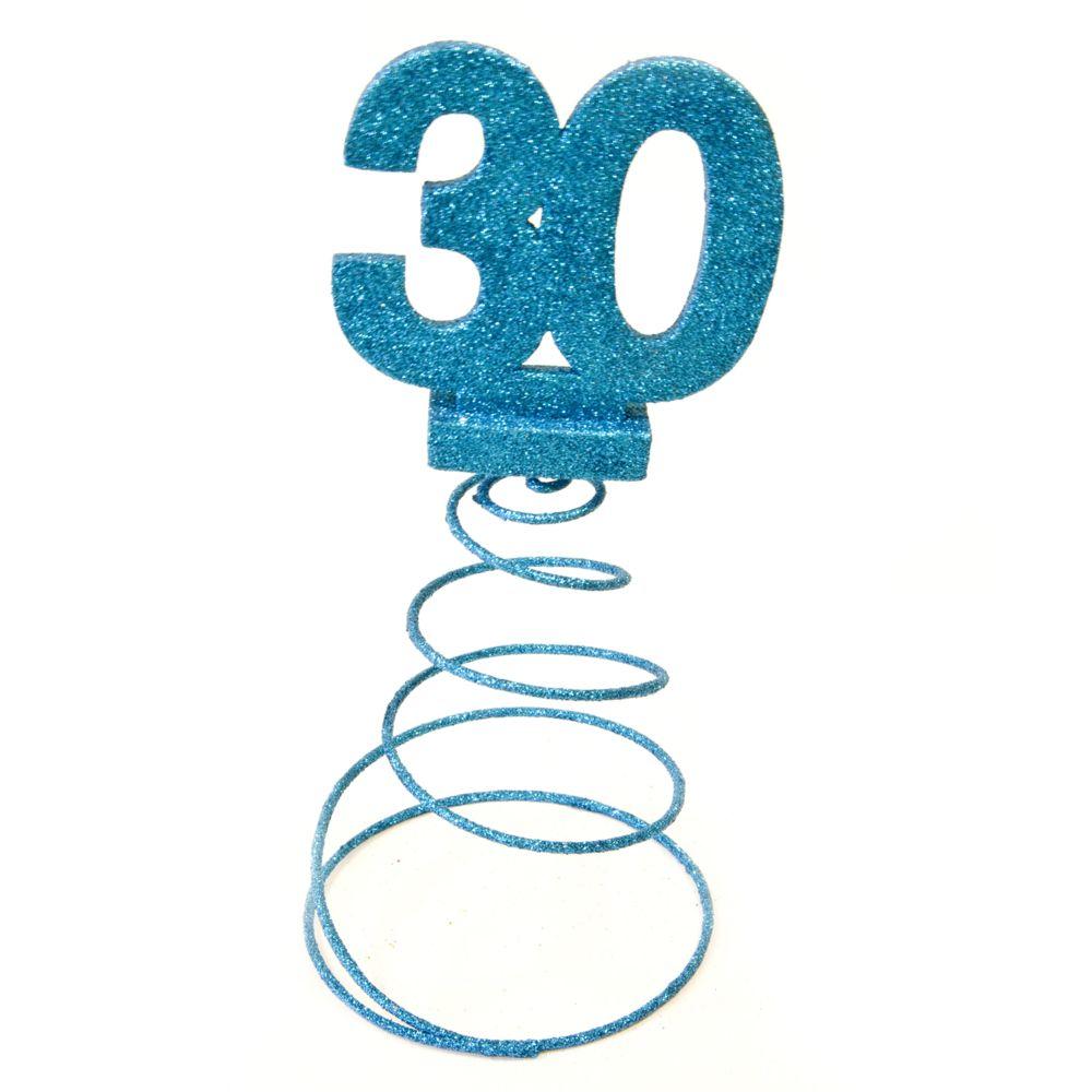 Visiodirect Lot de 10 Centres de table pour anniversaire 30 ans - turquoise pailletée