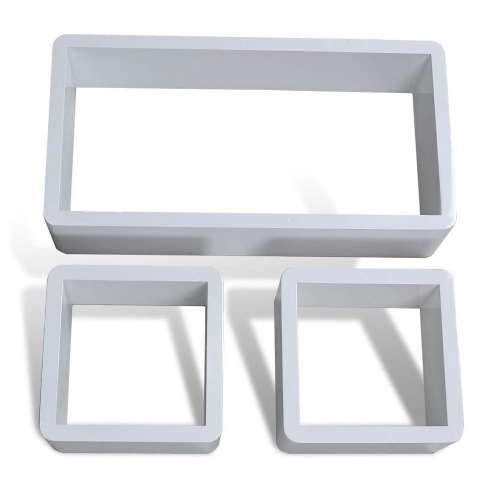 Helloshop26 Étagère armoire meuble design design murale 3 cubes blanc mdf 42 cm 2702083/2
