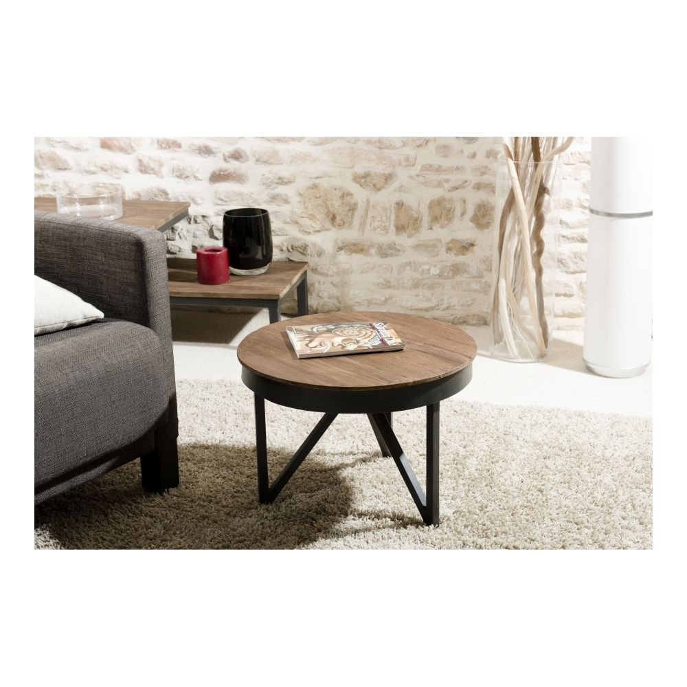 MACABANE Table basse ronde d'appoint 50x50 cm bois et métal APPOLINE - teck foncé