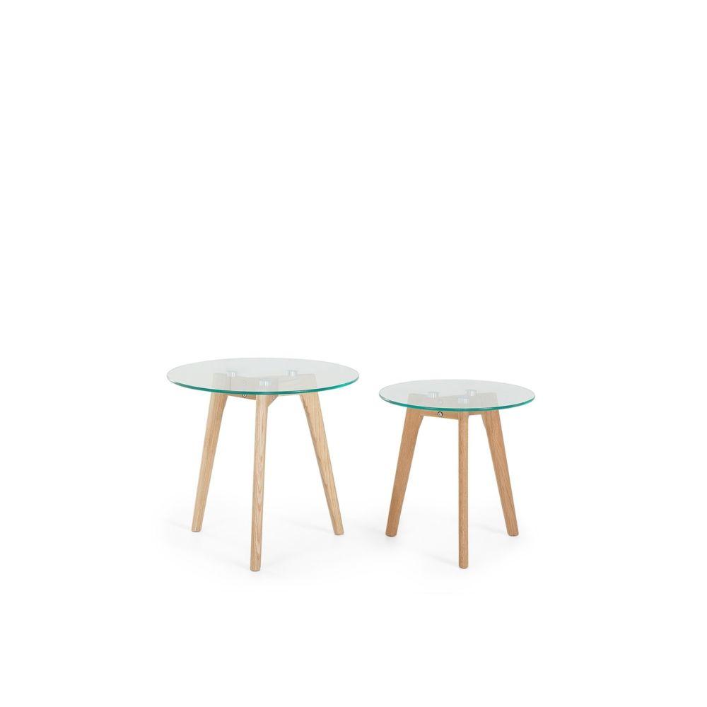 Beliani Beliani Lot de 2 tables appoint rondes en verre et bois MISSOURI - transparent