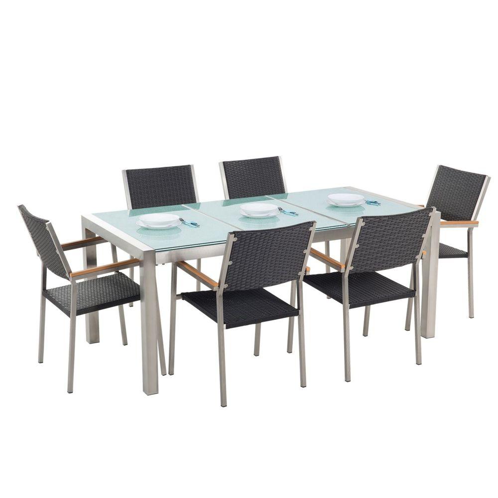 Beliani Beliani Set de jardin en rotin avec plateau en verre et 6 chaises 180 cm GROSSETO - gris