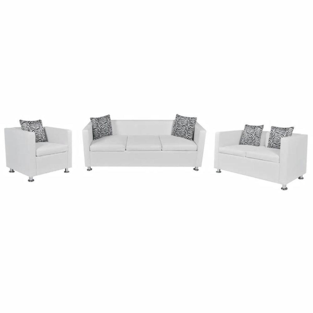 Vidaxl Jeu de canapé à 2 places et à 3 places et fauteuil Blanc | Blanc