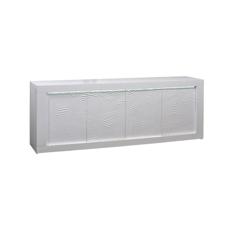 Tousmesmeubles Buffet 4 portes Laqué Blanc à LEDs - MARKS