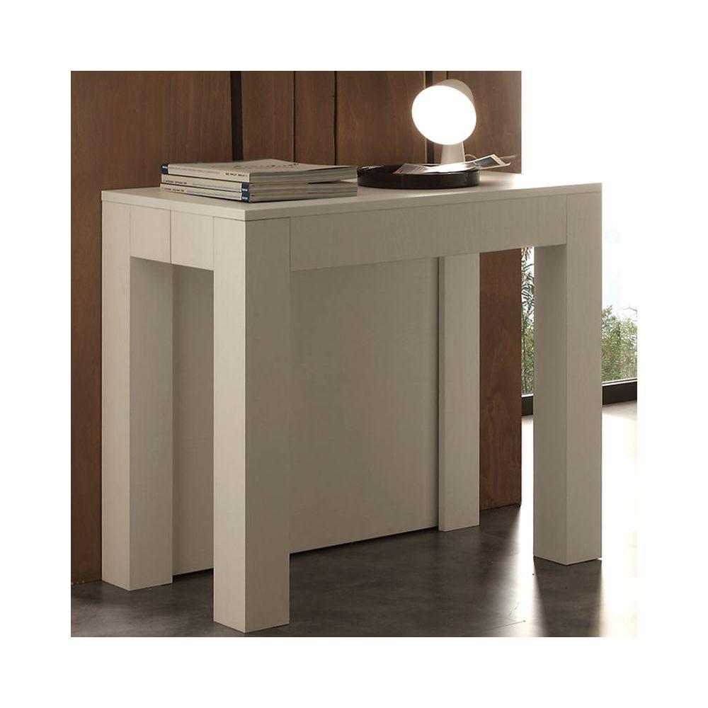 Nouvomeuble Table console extensible blanche design VIVIANE