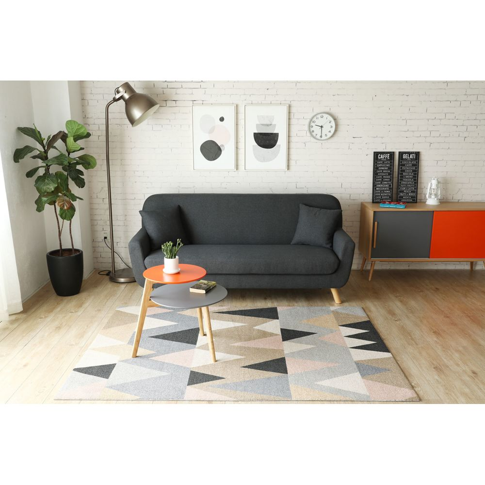 Concept Usine Canapé design scandinave Lena : 3 places Gris anthracite + 2 coussins
