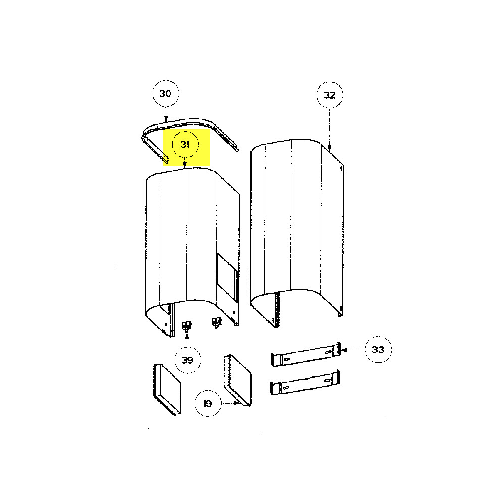 Hotpoint Cheminee Inferieure Inox (hauteur:65.5 C reference : C00051051