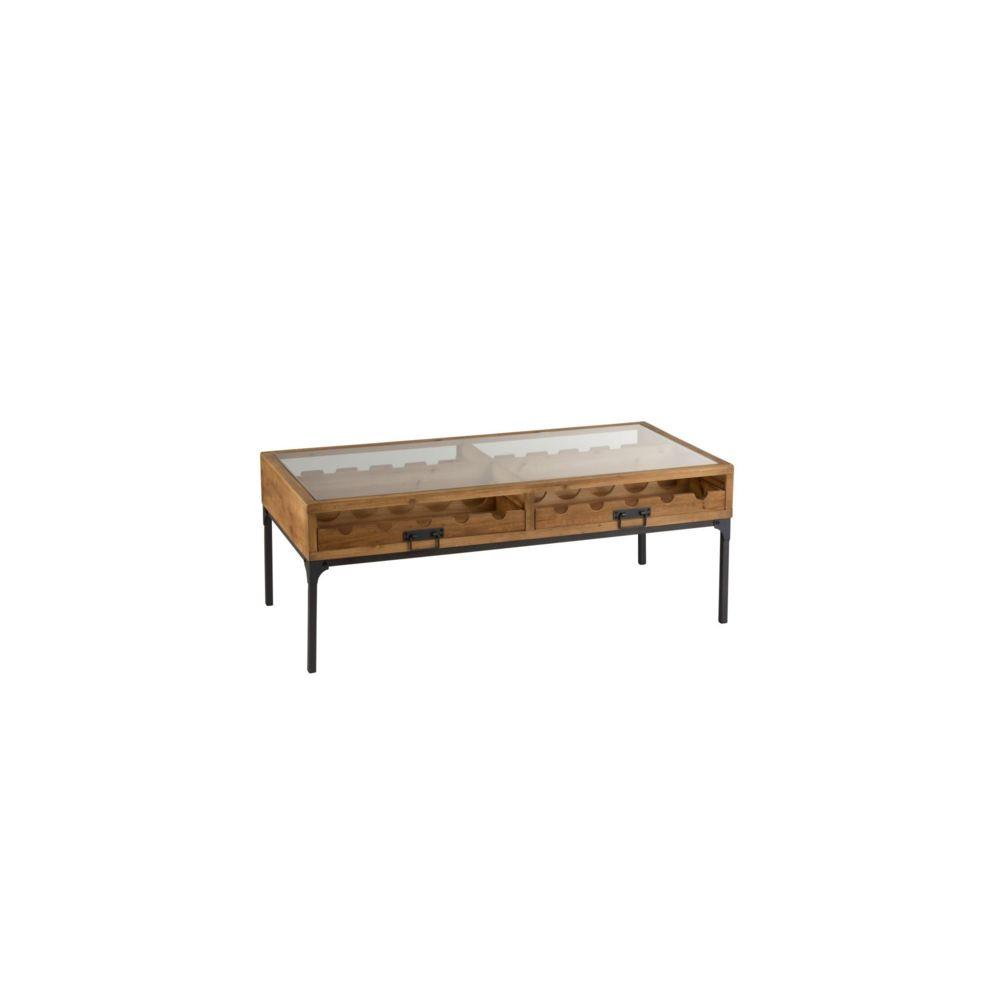 HELLIN Table basse industrielle porte-bouteilles bois et métal